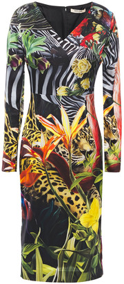 Roberto Cavalli Printed Stretch Silk-satin Dress