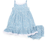Laura Ashley Blue Floral Spaghetti Strap Dress - Infant & Girls