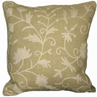 """Collection 18 Manor Luxe Vine Crewel Embroidered Burlap Pillow Collection, 18"""" x 18"""""""