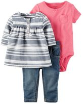 Carter's Baby Girl 3-pc. Floral Tunic, Bodysuit & Jeans Set