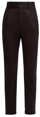 Saint Laurent Satin Stripe Wool Straight Leg Trousers - Womens - Black