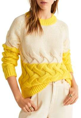 MANGO Colorblocked Knit Sweater