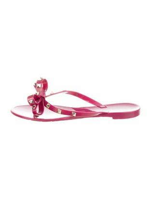 Valentino Rockstud Accents Bow Accents Flip Flops Purple