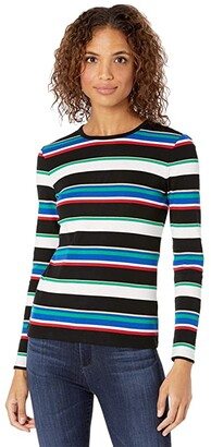 Lauren Ralph Lauren Metallic Stripe Cotton-Blend Top (Polo Black Multi) Women's Clothing
