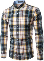 TUNEVUSE Men's Checkered Button-down Shirt Slim Fit Casual Shirts US XX-Small
