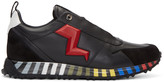 Fendi Black and Red Leather Bolt Sneakers