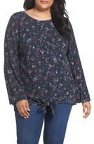 Caslon Plus Size Women's Knot Front Shirt