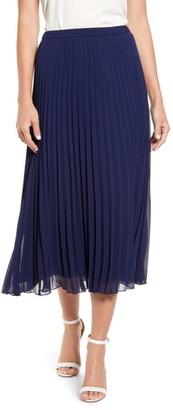 Anne Klein Pleated Georgette Midi Skirt