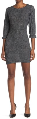 Velvet Torch Ruffle Sleeve Rib Knit Dress