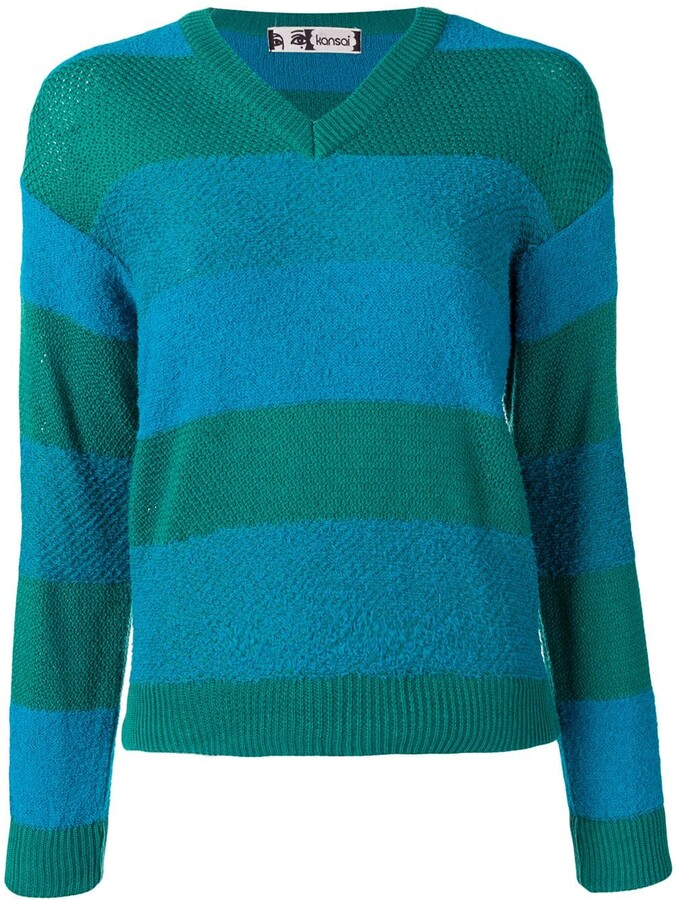 Kansai Yamamoto Pre-Owned 1980s V-neck striped jumper
