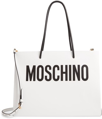Moschino Logo Leather Shopping Bag