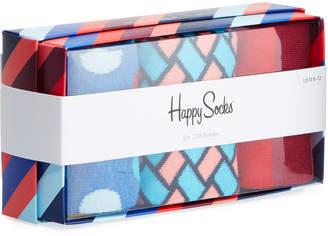 Happy Socks Men's Striped Socks, Set of 3