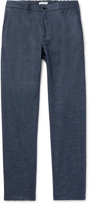 Boglioli Navy Slim-Fit Tapered Micro-Checked Wool-Flannel Drawstring Trousers
