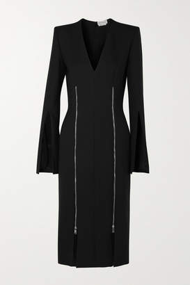 Alexander McQueen Zip-detailed Wool-blend Cady Midi Dress - Black