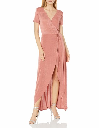 J.o.a. Women's Tie Waist Hi-Low Wrap Dress