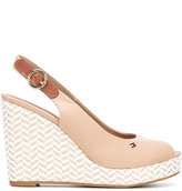Tommy Hilfiger zigzag wedge sling-back sandals - women - Cotton/Leather/rubber - 36