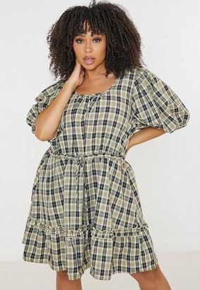 Missguided Size Yellow Check Puff Sleeve Smock Dress