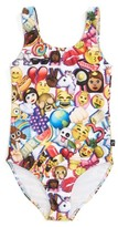Girl's Terez Emoji Print One-Piece Swimsuit