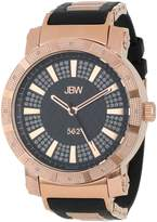 "JBW Men's JB-6225-L ""562"" Pave Dial Diamond Black Rubber Band Watch"