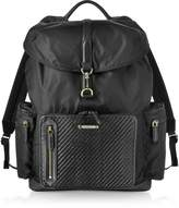 Ermenegildo Zegna Black Nylon and Woven Leather Backpack