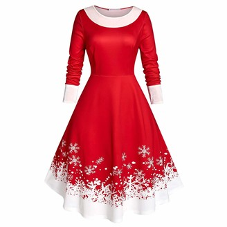 Hefyba Women's Christmas Elegant A-line Skirt Long Sleeve Crewneck Snowflake Print Skirt Xmas Party Prom Dress Plus Size Slim Waist Pullover Dress