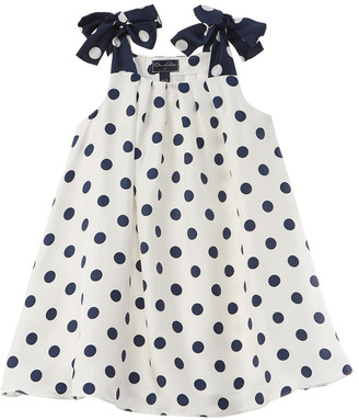 Oscar de la Renta Polka Dots Twill Silk Dress