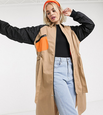 Collusion hybrid bomber trench coat in stone