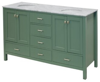 "Three Posts Aneira Full Cabinet 72"" Double Bathroom Vanity Base Finish: Sage Green, Top Finish: White"