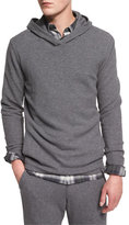 Vince Racking Thermal-Stitch Hooded Sweater, Heathered Carbon