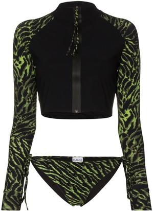 Ganni tiger print zip bikini set
