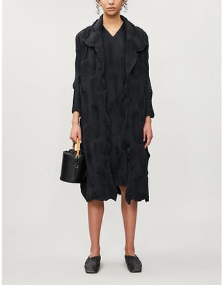 Issey Miyake Swirl textured single-breasted woven coat