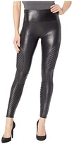 Spanx Faux Leather Leggings Moto Petite (Black) Women's Casual Pants