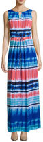 Donna Ricco Sleeveless Watercolor Stripe Maxi Dress - Petite