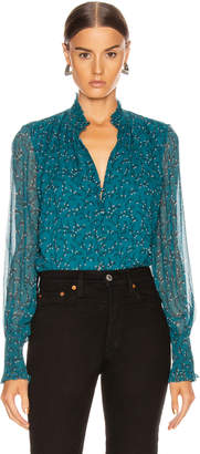 Jonathan Simkhai Printed Ruffle Collar Blouse in Teal Print | FWRD