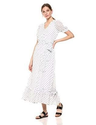 Calvin Klein Women's Short Sleeve V Neck Maxi Dress with Self-Sash Waist