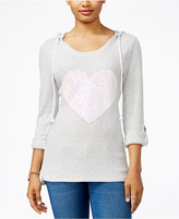 Miss Chievous Juniors' Sequined Heart Hoodie