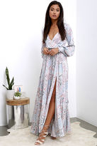 LuLu*s Psyche-Dahlia Blue and Pink Floral Print Maxi Dress