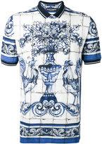 Dolce & Gabbana printed polo shirt - men - Cotton - 46