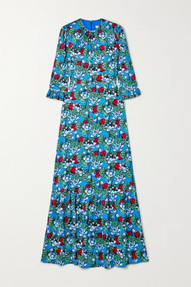 Mary Katrantzou Millais Floral-print Hammered Stretch-silk Satin Maxi Dress - Turquoise