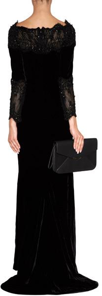 Marchesa Velvet Sequined Fishtail Gown in Black