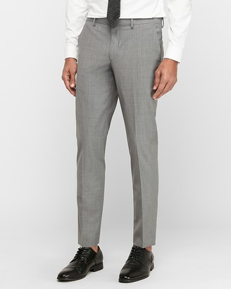 Express Extra Slim Gray Wool-Blend Performance Stretch Suit Pant