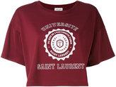 Saint Laurent logo patch cropped top - women - Cotton - XS