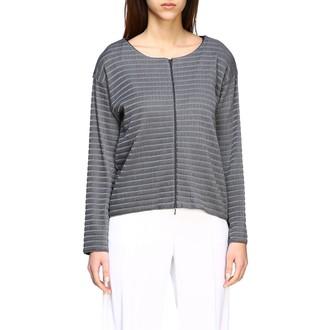 Emporio Armani Sweater Cardigan In Ribbed Jacquard With Zip