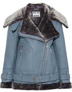 Walter Baker Celine Faux Fur-trimmed Leather Jacket
