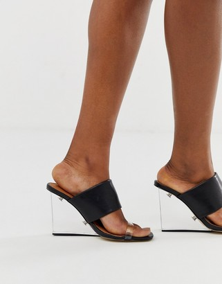Truffle Collection clear mule wedge heeled sandals-Black