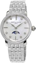 Frederique Constant Ladies' Slimline Moonphase Stainless Diamond Watch