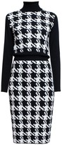 Rumour London Lina Houndstooth Merino Wool Knitted Dress