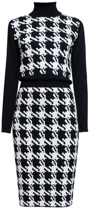 Lina Houndstooth Merino Wool Knitted Dress