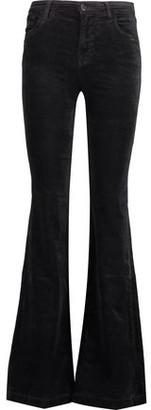 J Brand Maria Mid-rise Cotton-blend Velvet Flared Pants