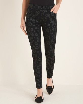Chico's Chicos Secret Stretch Coated Leopard-Print Jeggings